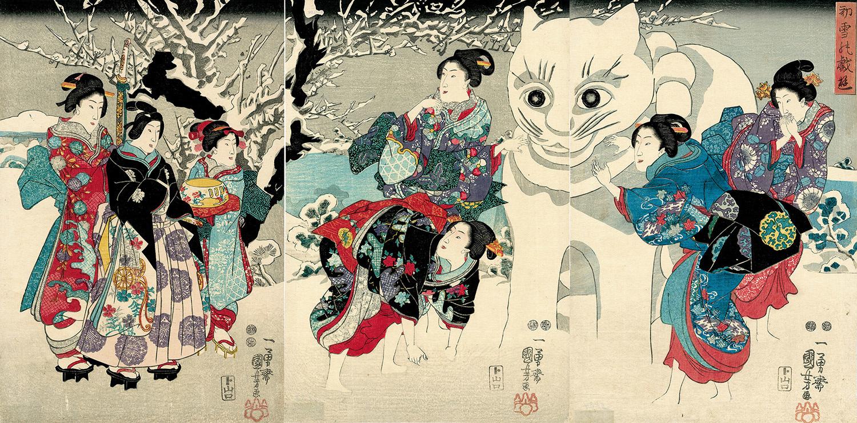 1852_UtagawaKuniyoshi_AmusementsOfTheFirstSnowfall_IllustrationChronicles_1500